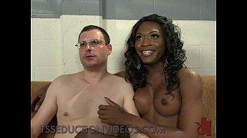 guy white black girlfriend Cum kissing ladyboy