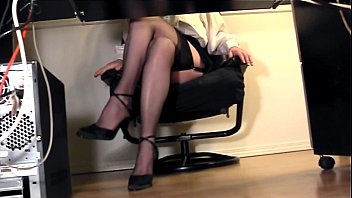 the up office under in skirt desk Son fucks mom while dad is away