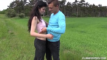 enjoys dirty threesome brunette outdoor in black amanda Pov close up footjobs